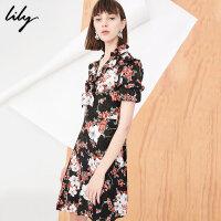 【25折到手价:139元】 Lily春新款女装短袖印花连衣裙修身不对称连衣裙118120C7659