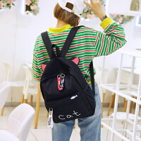 港风书包女韩版原宿中小学生百搭旅行包街拍背包双肩包