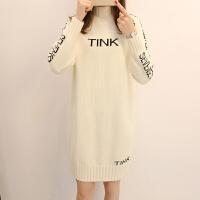 中长款新款毛衣半高领时尚针织连衣裙女士宽松打底裙子冬字母提花