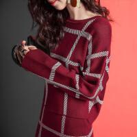 七格格冬新款 套头毛衣宽松短款圆领打底衫格子针织衫女CX431