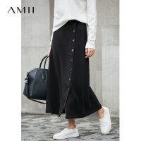 Amii[极简主义]长腿神器 睿智感排扣半身裙 冬季帅气时尚中长裙