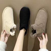 雪地靴女冬季情侣款一脚蹬加绒保暖防水防滑学生棉鞋