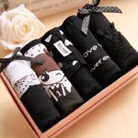 女士内裤全棉女式蝴蝶结可爱女生黑色纯棉卡通少女内裤5条礼盒装 5条装礼盒2尺2以内