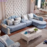 欧式布艺沙发组合小户型客厅实木雕花整装转角简欧沙发组合可拆洗 时尚 双人 无扶单 贵妃+月牙踏