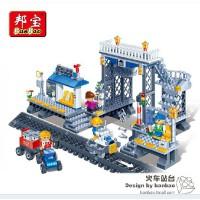 邦宝趣味 拼装小颗粒积木益智儿童玩具 火车站台8227胶制塑料