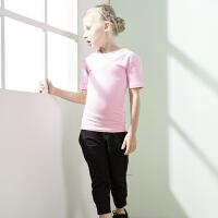 20180407230156116儿童舞蹈服夏季短袖女童拉丁舞练功服套装男童舞蹈衣裤秋季