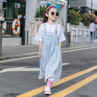 童装夏装女孩夏季牛仔背带裙儿童两件套