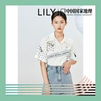 [中国国家地理合作系列]Lily2020夏季新款女装短款宽松短袖衬衫