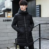新款冬季中长款棉衣男士韩版外套青年潮流帅气连帽棉袄男