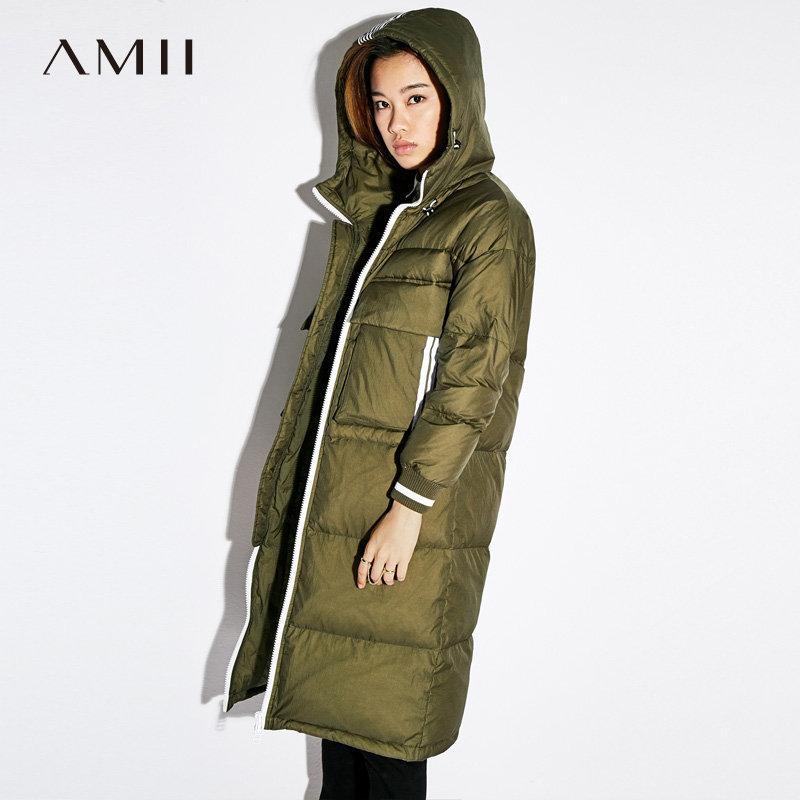 【大牌清仓 5折起】Amii[极简主义]连帽羽绒服女2017冬季新款撞色条纹贴袋90鸭绒外套
