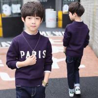2017新款毛衣圆领套头打底针织衫韩版潮 儿童装男童秋冬装 紫 色