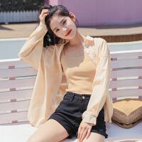 防晒衬衣女长袖2018夏款韩版纯色衬衫女外套开衫上衣防�鹨鲁笨硭�