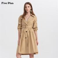 【限时直降价:399】FIVE PLUS2019新款女装长款风衣外套女宽松长袖腰带潮翻领棉质