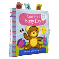 【首页抢券300-100】Little Bear's Busy Day 小熊忙碌的 儿童英语布书触摸书 幼儿感官感知培养