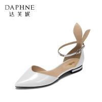 达芙妮旗下vivifleurs 春夏甜美兔耳方跟单鞋 气质尖头一字扣低跟女鞋
