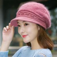冬天女士贝雷帽中年帽子女兔毛无檐时装帽老年人冬帽韩版保暖帽女