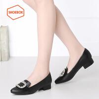 达芙妮旗下shoebox鞋柜新品甜美休闲女鞋 方扣优雅尖头套脚低跟浅口单鞋