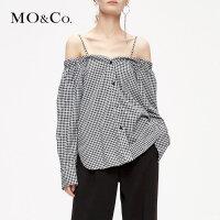 MOCO2019春季新款一字肩格纹心机露肩上衣衬衫女MAI1TOP041摩安珂