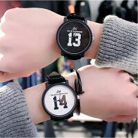一对韩版情侣手表1314情侣手表水皮带韩版早安晚安时尚潮流复古简男女手表一对