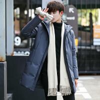 男士羽绒服中长款修身连帽白鸭绒加厚保暖外套韩版青年冬装外套潮