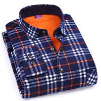 男士保暖加棉衬衣男装修身格子商务休闲保暖加绒衬衫青年潮流衬衣