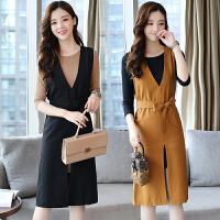 2017秋季韩版显瘦百搭两件套背带裙女中长款V领下开叉连衣裙