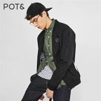 【满399减80】POTE拉夏贝尔男装秋夏新品黑色常规梭织夹克棒球服外套