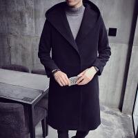 英伦妮子大衣男中长款连帽韩版宽松呢风衣加厚青年毛呢外套潮冬季