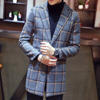 风衣男秋冬季新款韩版中长款大衣外套男韩版修身格子开衫上衣
