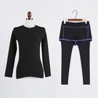 2018女士瑜伽服紧身跑步裤女假两件健身服专业跑步运动套装