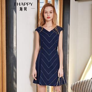 海贝2018夏装新款女 藏青V领无袖条纹修身显瘦收腰A字连衣裙短裙