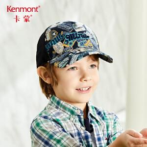 卡蒙6-9岁儿童帽子男潮棒球帽春夏字母刺绣全棉宝宝鸭舌帽遮阳帽4624