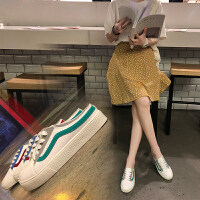 懒人小白鞋女2018新款无后跟板鞋ins帆布鞋女韩版半拖白鞋