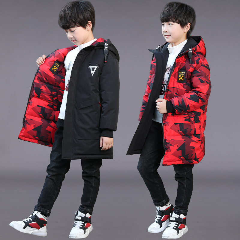 儿童装男童冬装棉衣外套中大童男孩中长款