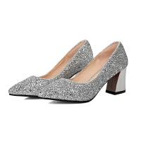 2017秋季新款红色婚鞋女尖头粗跟亮片新娘鞋婚纱鞋高跟水晶鞋单鞋