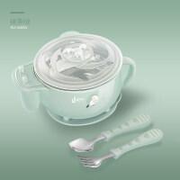 宝宝碗勺儿童餐具便携组合套装婴儿不锈钢辅食吃饭吸盘碗 彩虹蟹粉色f6y