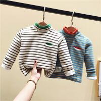 宝宝加绒打底衫婴儿童冬装条纹男女童保暖上衣