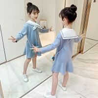 女童�B衣裙新款春�b�和�春秋季�W院�L�L袖小女孩裙子