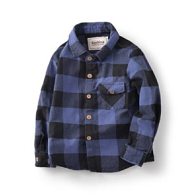 男童衬衫长袖儿童格子衬衣中大童开衫上衣