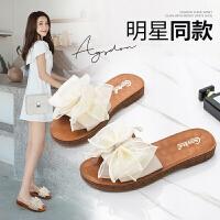 奥古狮登拖鞋女夏季外穿蝴蝶结一字拖平底时尚防滑孕妇沙滩凉拖鞋