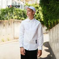 VIISHOW2017秋装新品色块拼布休闲长袖衬衫男纯棉标签男士衬衣