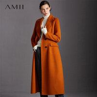 【领券满1000减700】Amii极简欧美风羊毛毛呢外套女2018冬季新款西装领开衩双面呢大衣