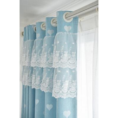 粉色韩式棉麻全遮光提花爱心窗帘女孩客厅卧室书房落地窗飘窗