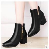 古奇天伦新款百搭短靴尖头高跟鞋子马丁靴英伦风粗跟女靴子秋冬季女鞋