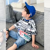 【2件2折】左西男童短袖T恤2021新款夏装儿童中大童韩版印花休闲潮流夏