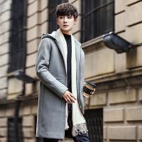 中长款妮子风衣男韩版潮学生帅气冬装加厚毛呢大衣男呢料风衣外套