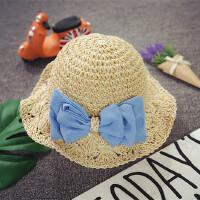 韩版儿童草帽夏季手工女童蝴蝶结太阳帽宝宝遮阳帽凉帽防晒沙滩帽
