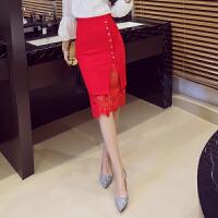 职业裙子女秋冬中长款高腰蕾丝包臀裙工作黑色开叉一步裙半身裙