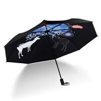 原创意福禄太阳伞小清新遮阳伞折叠伞防晒防紫外线女晴雨伞