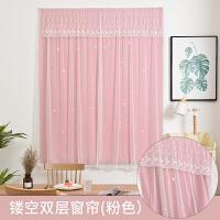 魔术贴窗帘遮光简约现代免打孔安装网红公主风卧室成品出租房短帘